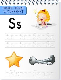 Foglio di lavoro per tracciare l'alfabeto con la lettera s e s.