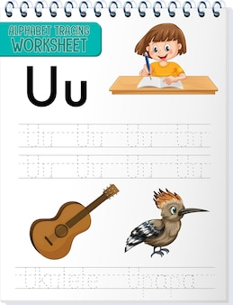 Alphabet tracing worksheet with letter u and u