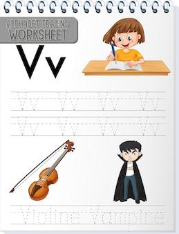 Foglio di lavoro per tracciare l'alfabeto con la lettera v e v