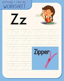 Foglio di lavoro di tracciamento di alfabeto con lettera e vocabolario