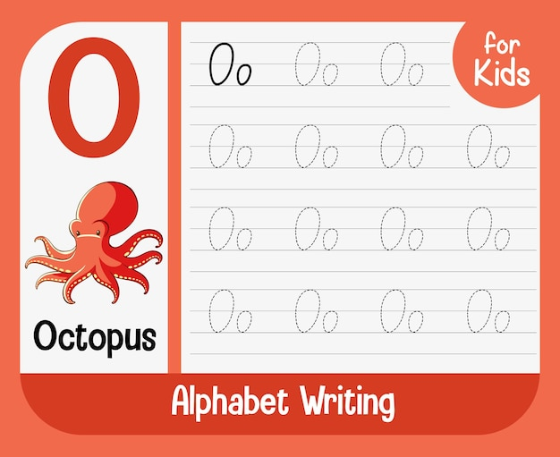 Alphabet tracing worksheet with letter and vocabulary