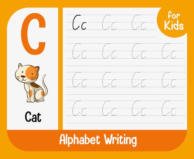 Alphabet tracing worksheet with letter and vocabulary Free Vector