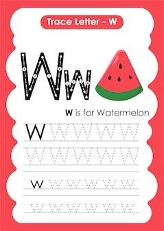 文字wスイカのアルファベットトレースワークシート