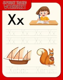 문자 x와 x가있는 알파벳 추적 워크 시트