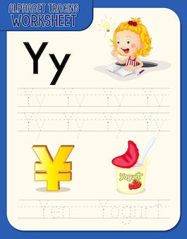 Alphabet tracing worksheet with letter y and y
