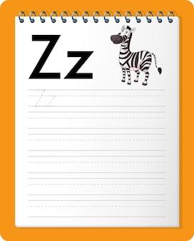 문자 z와 z가있는 알파벳 추적 워크 시트