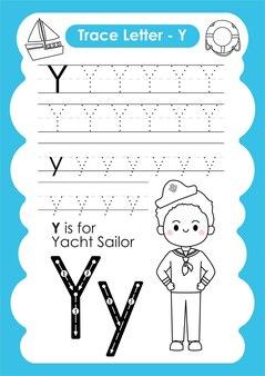 Рабочий лист по алфавиту со словарным запасом профессии от letter y yacht sailor