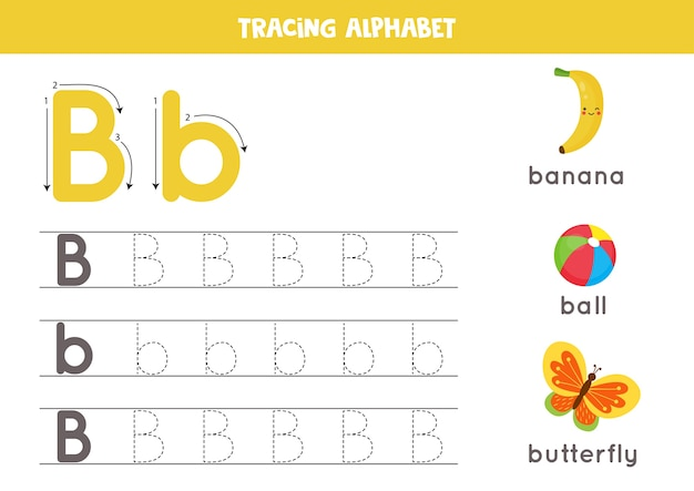 Alphabet tracing worksheet. a-z writing pages. letter b uppercase and lowercase tracing with cartoon butterfly, ball, banana. handwriting exercise for kids. printable worksheet.
