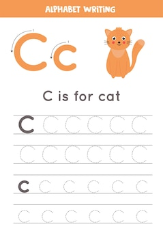 Alphabet tracing worksheet. a z writing pages. letter c uppercase and lowercase tracing with cartoon cat illustration. handwriting exercise for kids. printable worksheet.