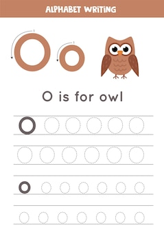 Alphabet tracing worksheet. a-z writing pages. letter o uppercase and lowercase tracing with cartoon owl illustration. handwriting exercise for kids. printable worksheet.