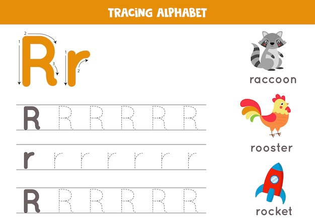 Alphabet tracing worksheet. a-z writing pages. letter r uppercase and lowercase tracing with cartoon raccoon, rooster, rocket. handwriting exercise for kids. printable worksheet.