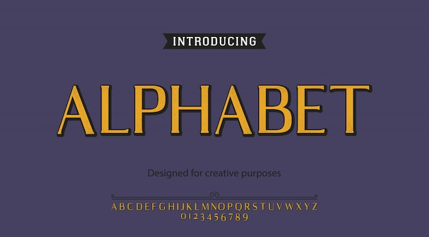 Alphabet typeface. for labels and different type designs