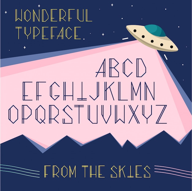 Alphabet uppercase letters in space, ufo concept. cosmos cartoon font for typography.