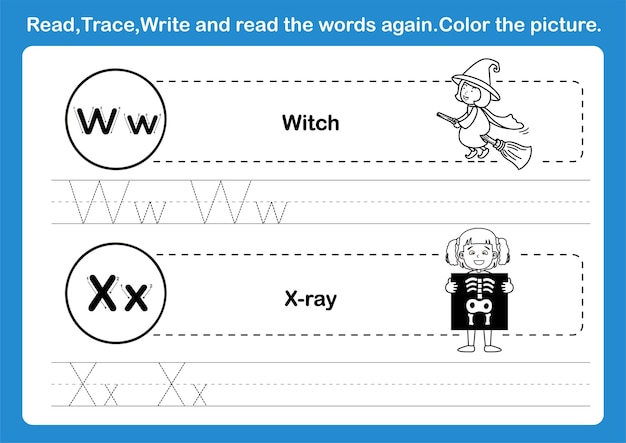 Alphabet w-x exercise with cartoon vocabulary for coloring book illustration