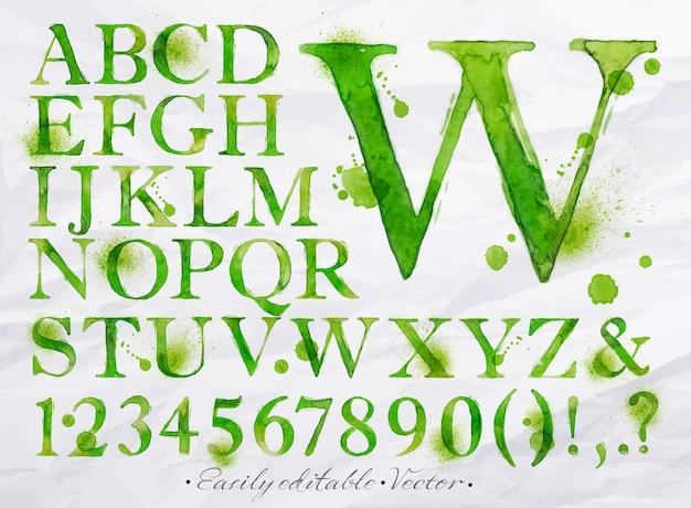 アルファベット水彩緑