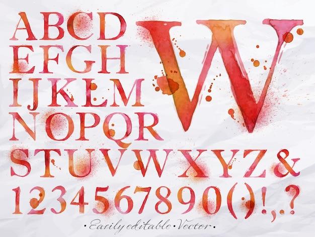 アルファベット水彩赤