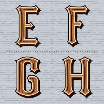 アルファベット西部文字ヴィンテージ(e、f、g、h)