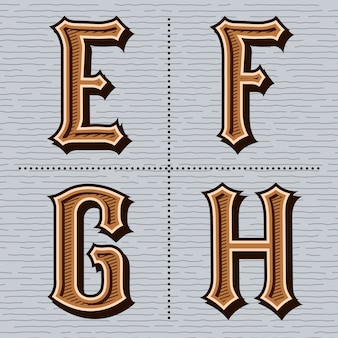 Винтажные буквы алфавита (e, f, g, h)
