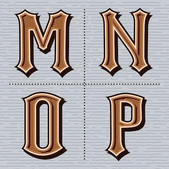Винтажные буквы алфавита (м, н, о, р)