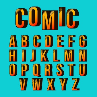 Alphabet with 3d comic design