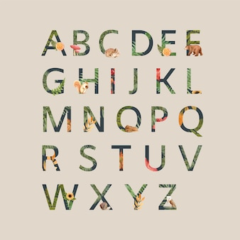 Alphabet with autumn theme