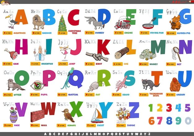 漫画の文字とオブジェクトの教育セットのアルファベット