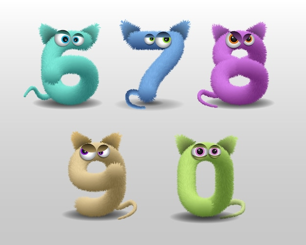 Alphabet with cute fur monster character
