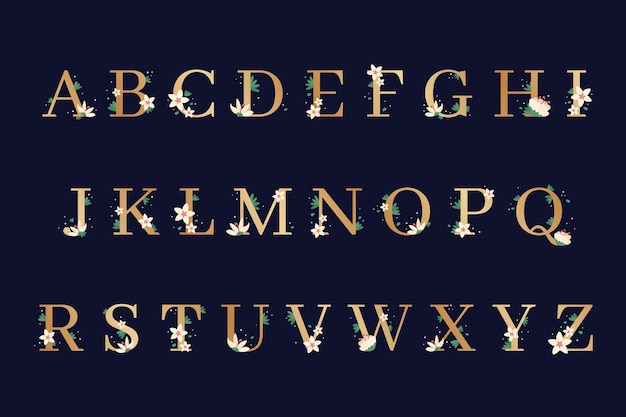 Alphabet with elegant flowers on letters