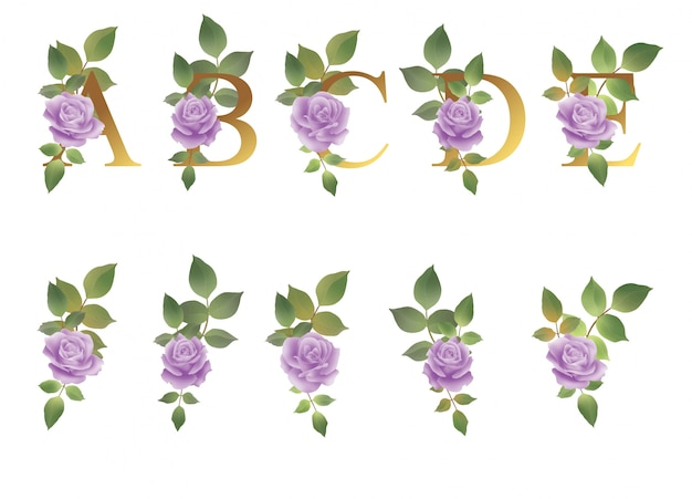 Alphabet with flower decoration and watercolor leaves for wedding invitation decoration