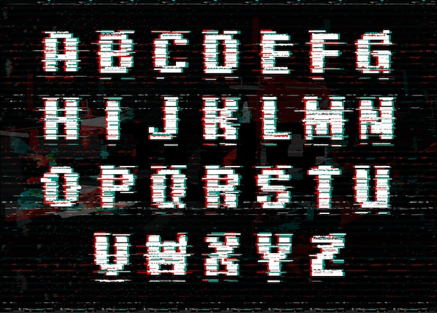 Alphabet with glitch and noise effect.
