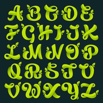 Алфавит с зелеными листьями.