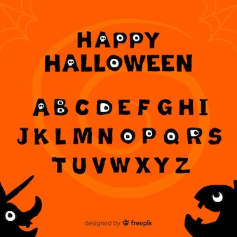 Alphabet with halloween characters