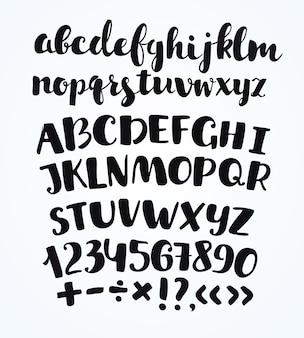 手描きの活版印刷記号のアルファベット