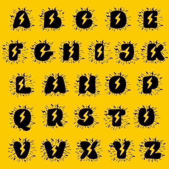 稲妻のネガティブスペースのアルファベット。手描きのモノクロヴィンテージスタイル。エネルギーラベル、スーパーヒーロープリント、ロックミュージックのポスターなどに最適なタイプです。