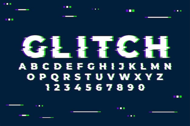Алфавит с цифрами и модным эффектом сбоя