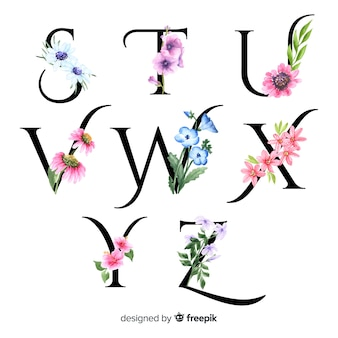 Alphabet with realistic flowers
