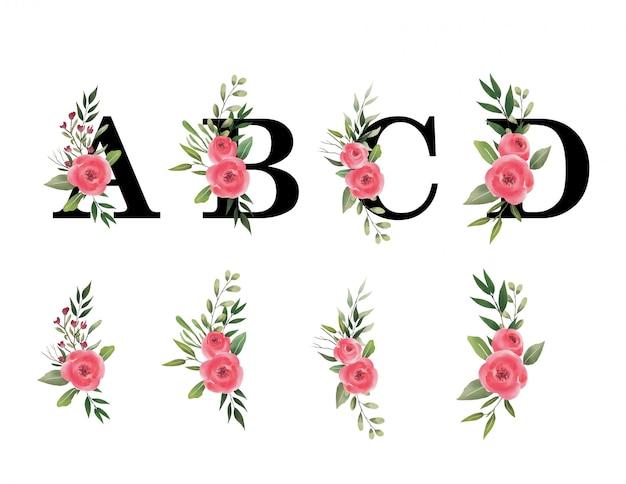 水彩画の花束とアルファベット