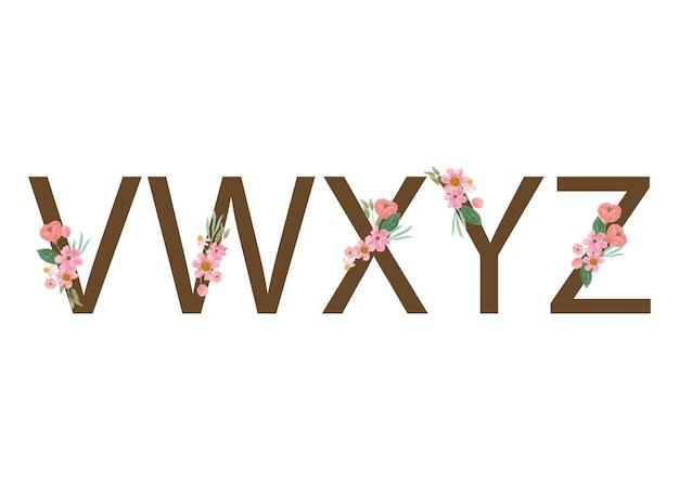 水彩ピンクの花のアルファベット