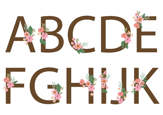 Alphabet with watercolor pink flower