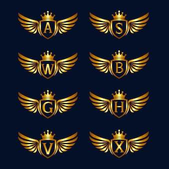 Alphabet with wings and shield logo collections