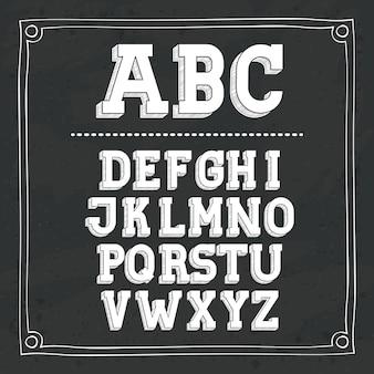 黒板のデザインで書かれたアルファベット