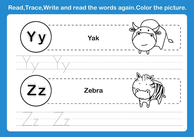 Alphabet y-z exercise with cartoon vocabulary for coloring book illustration