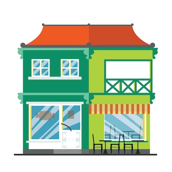 Alphabetic house. coffee shop. handmade font with flat style illustration