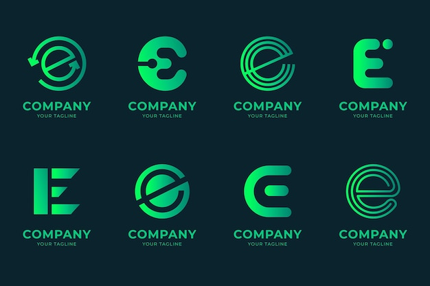 Alphabetical letter e logo collection