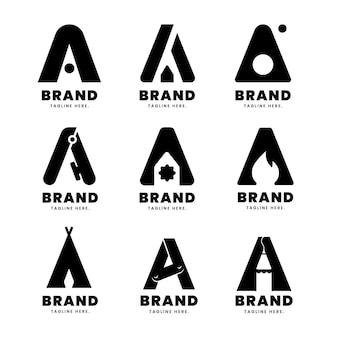 Alphabetical letter a logo collection
