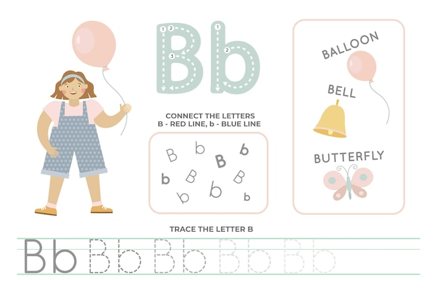 文字bのアルファベット順のワークシート