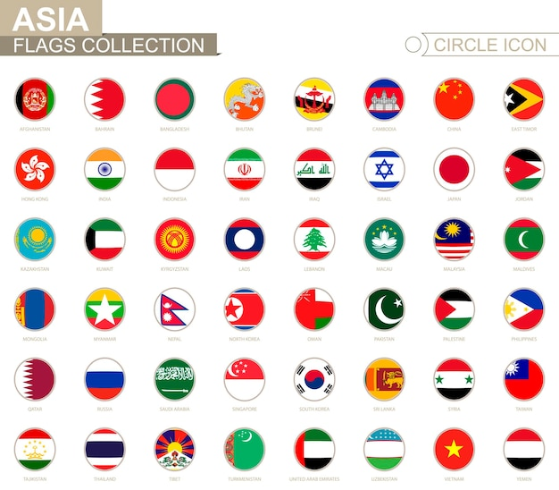 Alphabetically sorted circle flags of asia. set of round flags. vector illustration.