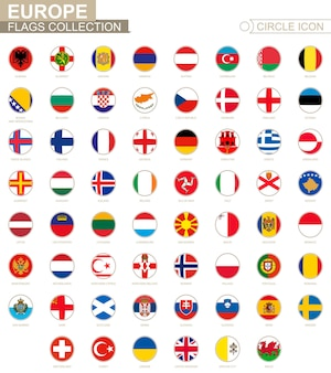 Alphabetically sorted circle flags of europe. set of round flags. vector illustration.