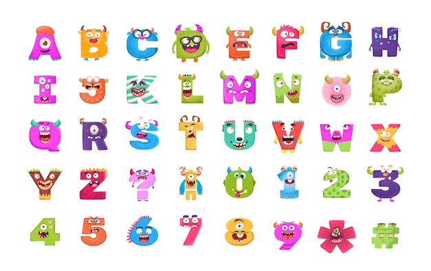 Alphabets and numbers monster flat icons