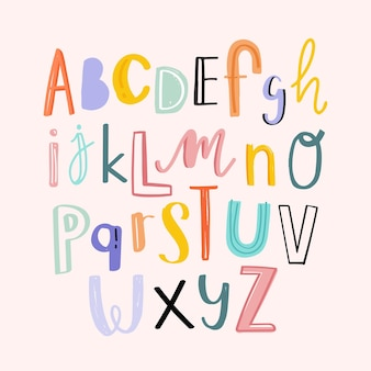 Alphabets typography hand drawn doodle style set